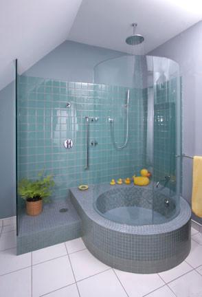 Caribbean Green Medium Contemporary Bathroom Seattle