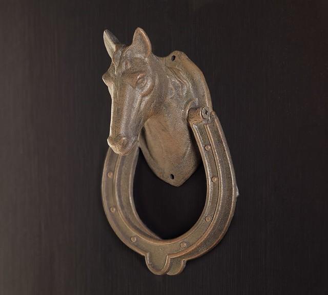 Equestrian horse door knocker traditional door knockers by pottery barn - Horse head door knocker ...