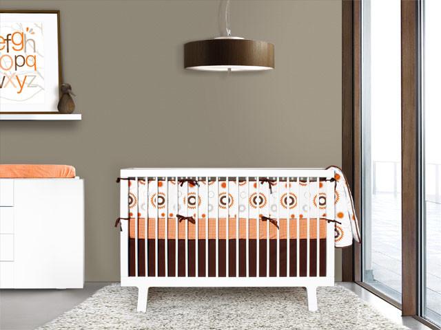 Orange and Brown Sunburst 4-piece Crib Set contemporary-baby-bedding