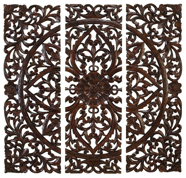 Set of 3 carved wood wall panels rich brown intricate - Carved wood wall art panels ...