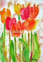 Colorful Tulips Watercolor Print by lauratrevey on Etsy