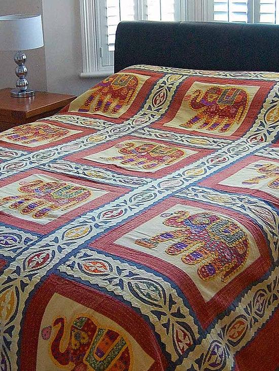 Elephant Applique Indian Bedspread -
