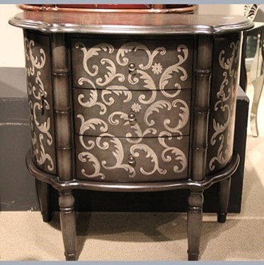 Powell Dark Pewter Hand Painted Console traditional-side-tables-and-end-tables