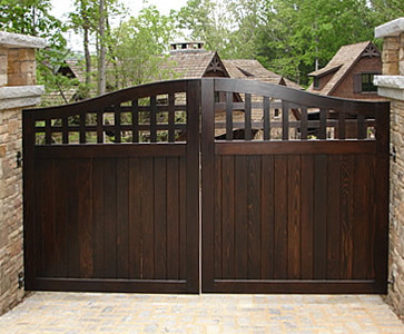 Portland collection wood driveway gate traditional home fencing and gates portland by for Wooden main gate design for home