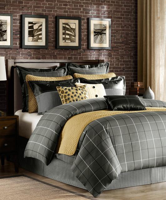 Gray Amp Gold Comforter Set Modern Comforters And Comforter Sets