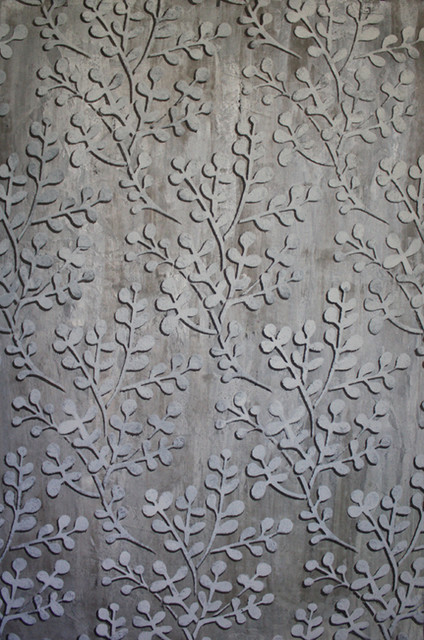 Silver metallic stenciled wall finishes transitional - Silver metallic wall paint ...