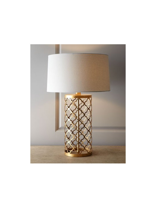 Quatrefoil Drum Lamp - Lacy, quatrefoil patterning gives this lamp a light, airy feel