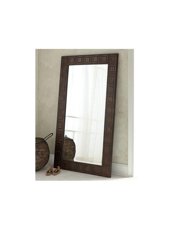 """Horchow - Adel Floor Mirror - A dramatic, oversized mirror is made all the more eye-catching by its hand-forged, hand-hammered metal frame with a lightly distressed, burnished-bronze finish with gold highlights. Mirror is beveled. Hanging hardware included. 41""""W x 1""""D x 71""""T. ...."""
