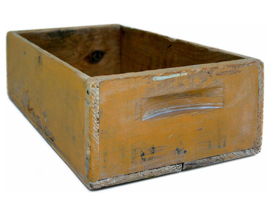 Yellow Painted Storage Box - A great item to store items on your desk top or for produce and fruit in the kitchen. Original sunny yellow paint with wax finish.