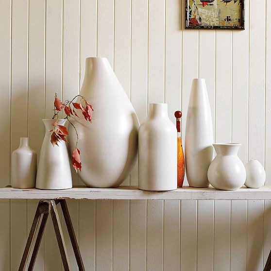 Pure White Ceramic Vase Collection modern vases