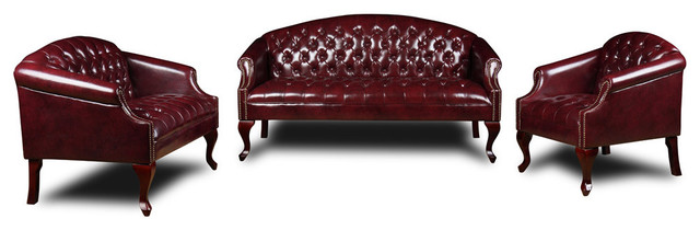 Boss Chairs Boss 3 Piece Traditional Button Tufted Living Room Set in Oxblood traditional-sofas