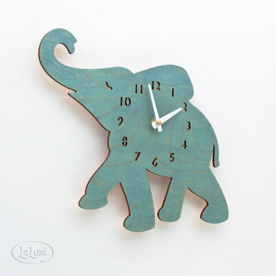 The Baby Turquoise/Teal Elephant Designer Wall Clock by LeLuni eclectic clocks
