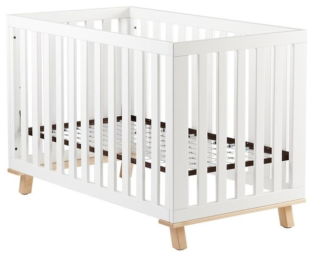 Low-Rise Crib, White Frame With Maple Base modern-cribs