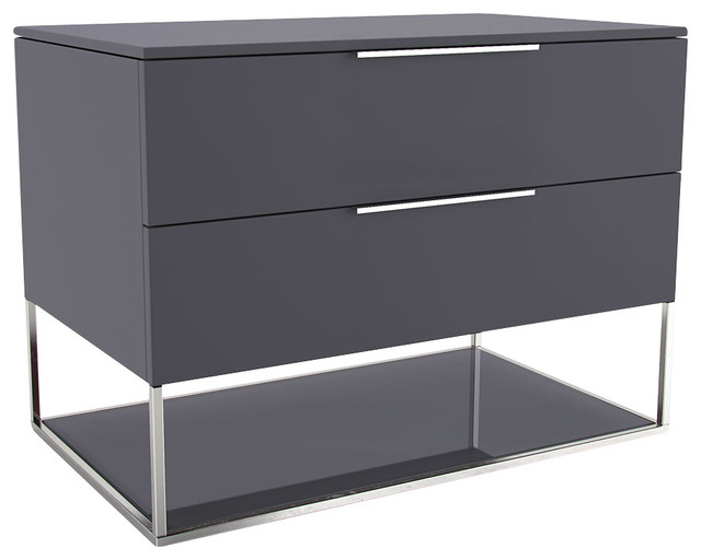 Bowery Nightstand, Asphalt Matte-Asphalt Glass contemporary-nightstands-and-bedside-tables