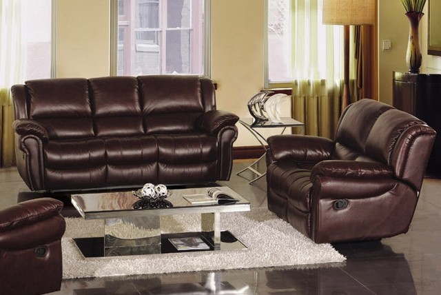 Bianca Italian Leather Reclining Sofa Set Modern Living Room Furniture Se
