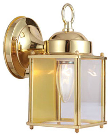 Wall Mounted Coach Lamps : Coach Polished Brass Outdoor Wall Mounted Light - Modern - Outdoor Lighting - by Bellacor