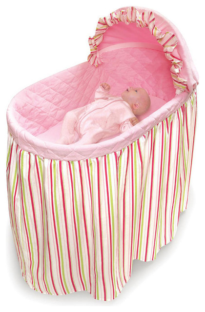 Embrace Bassinet with Stripe and Pink Bedding Set traditional-kids-bedding
