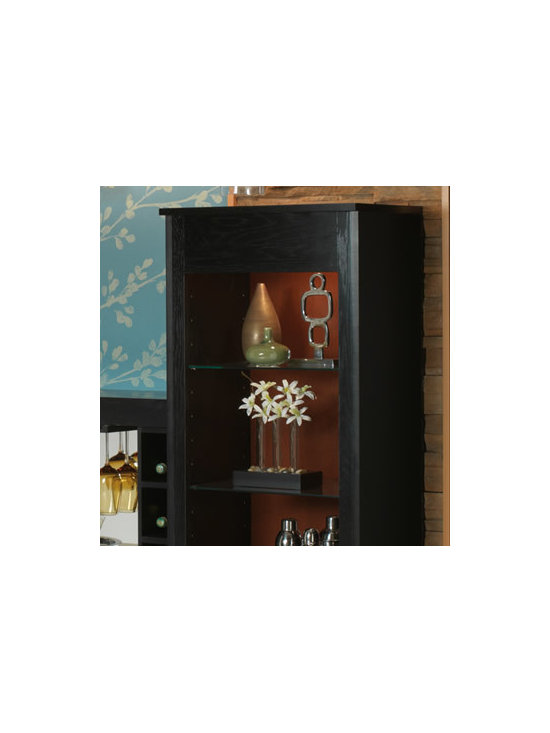 """Bookcase with Contrasting Back Panel - Display your curios or use as a decorative storage solution. This unit utilizes a 12"""" deep base cabinet without doors, an integrated end panel, and a contrasting beaded back board. Shown here on top of a Base Full-Height Single Door 12"""" Deep cabinet for more storage options."""