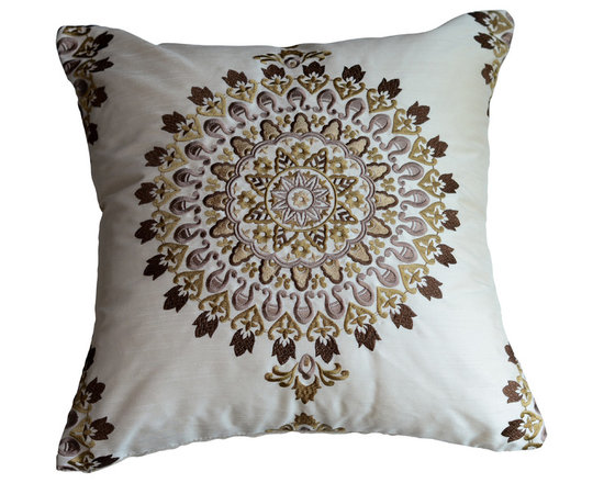 KH Window Fashions, Inc. - Exquisite Embroidered Medallion Pillow-Brown, With Insert - This exquisite embroidered medallion pillow belongs on any sofa or bed. The back of the pillow is made of a solid ivory coordinating fabric.