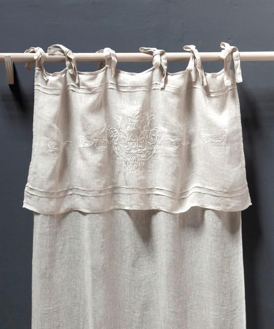 Curtain Panel Classica Tie Top Linen Voile Farmhouse