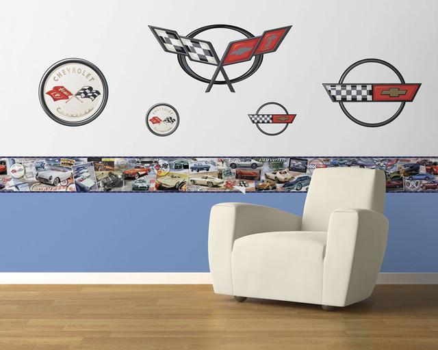 Corvette Logos Peel and Stick Wall Mural modern-wall-decals