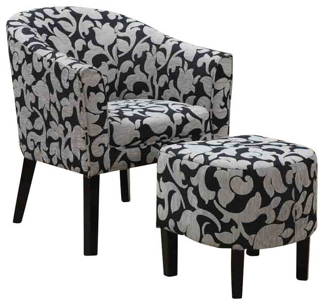 Grey And White Flower Accent Chair: Barrel Back Accent Chair And Ottoman Set With White And