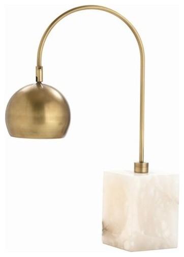Arteriors Jana Brass/Marble Adjustable Desk Lamp contemporary-table-lamps