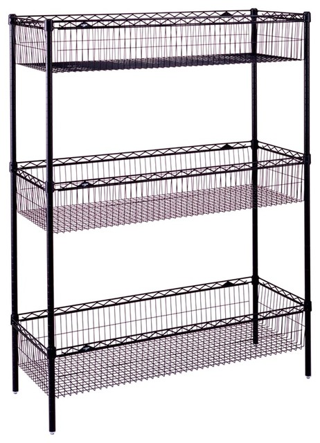 Wire Storage Unit With Basket Shelves, Black - Contemporary - Storage Cabinets - by ShopLadder