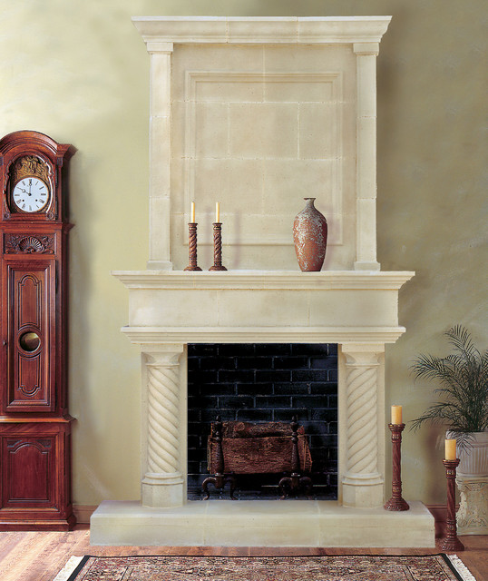 Cordova Cast Stone Fireplace Mantel traditional-indoor-fireplaces