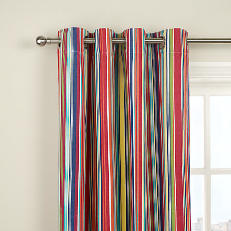 Bright Stripe Lined Eyelet Curtains, Multi - Contemporary - Curtains - by John Lewis