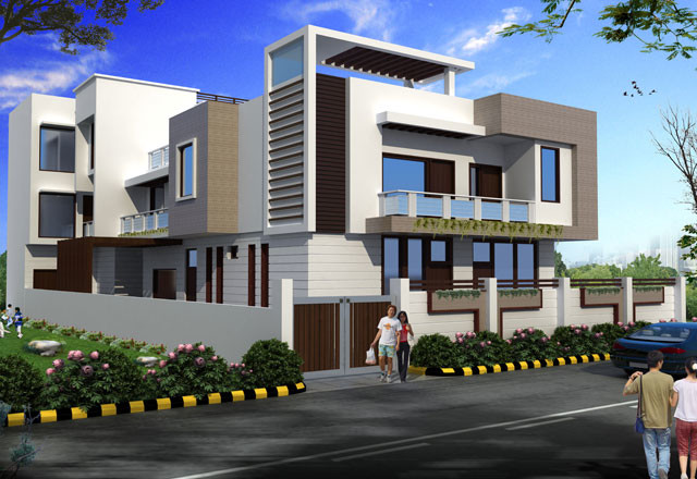 House designs indian homes contemporary rendering Indian modern house