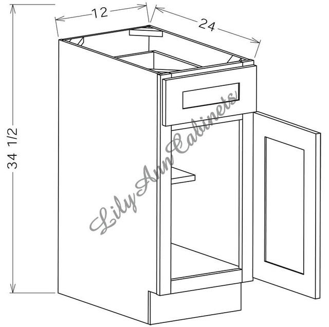 RTA Hickory Walnut Base Cabinets B12 - Single Door Base Cabinet - Modern - Kitchen Drawer ...