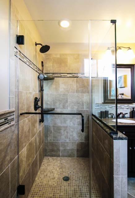 Cool Earth Toned Walk In Shower With Tile Detailing Traditional Bathroom