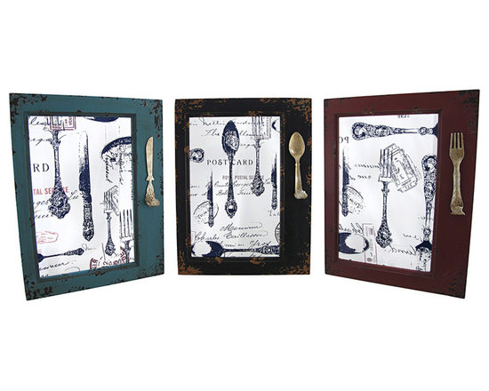 Set of 3 Framed Glass Silverware Wall Hangings with Hooks - This set of wall hangings is a wonderful addition to the homes of culinary artists, restaurants, and cafes. Each features a framed pane of glass, printed with postmarks, handwritten notes, and a collage of silverware, as well as a hook on the side for aprons or utensils. Each panel measures 15 3/4 inches tall, 12 inches wide, 2 inches deep, and easily mounts to the wall with 2 nails or screws by the triangle hangers on the back.