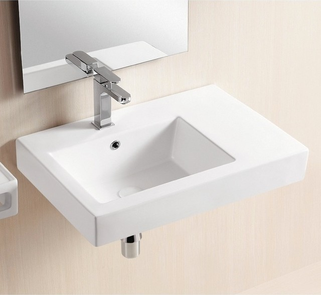 Wall mounted ceramic sink with counter space modern for Lavabo salle de bain american standard