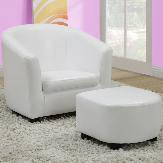 White Leather-look Juvenile Chair / Ottoman Set modern-dining-chairs