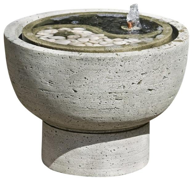 Yin Yang Pot Garden Water Fountain, English Moss traditional-outdoor-fountains-and-ponds