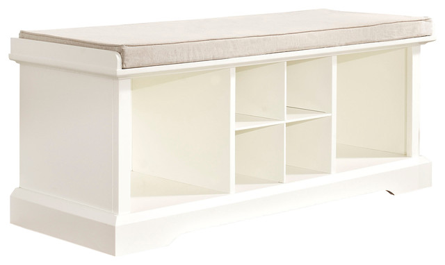 Brennan Entryway Storage Bench, White - Traditional - Upholstered
