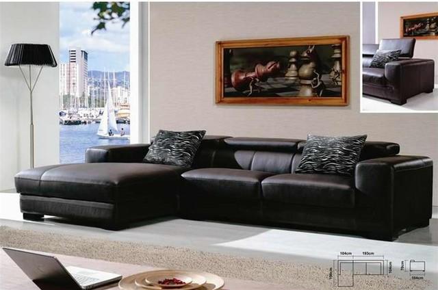 don mega black leather sectional sofa. Black Bedroom Furniture Sets. Home Design Ideas