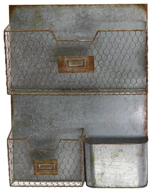 3 Pocket Zinc Galvanized Metal Mail Organizer industrial-magazine-racks