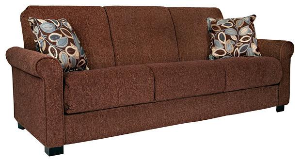 Portfolio Rio Convert-a-Couch Brown Chenille Rolled Arm Futon Sofa Sleeper contemporary-futons
