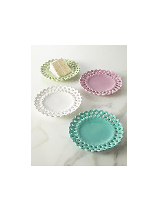 "NM EXCLUSIVE - NM EXCLUSIVE Four Assorted Pierced Dessert Plates - Exclusively ours. Pierced, scalloped edges add dimension to these fun dessert plates and footed cake stand. Made of earthenware. Dishwasher and microwave safe. Footed cake stand in white, 11""Dia. x 4.75""T. Set of four assorted dessert plates inclu..."