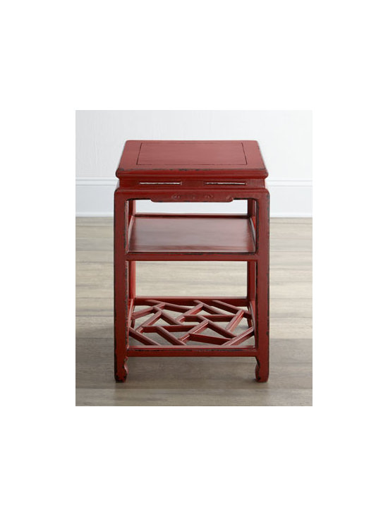 """Horchow - Antique Red Side Table - Petite square side table has one solid shelf and one open lattice-style shelf. Made of pine and mulberry. Distressed finish may have been """"touched up."""" Circa Kuang Hsu period, 1875. Comes with certificate of antiquity. 17""""Sq. x 25""""T. Imported. B..."""