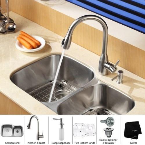 """Kraus KBU24-KPF2130-SD20 Stainless Steel Kitchen Combo 32"""" Undermount contemporary-kitchen-sinks"""
