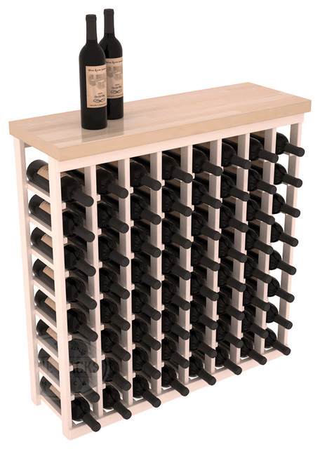 Tasting Table Wine Rack Kit + Butcher Block Top in Pine with White Wash Stain + contemporary-wine-racks
