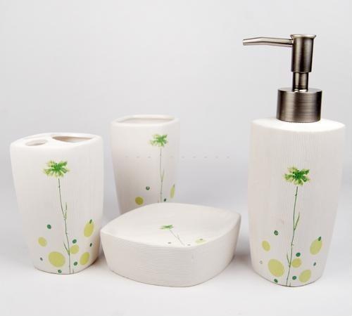 Modern Flowers Texture Ceramic Bath Accessory Set contemporary