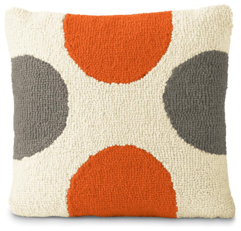 The Modern Pillow : Orange & Gray Spots - Modern - Decorative Pillows - by Chiasso