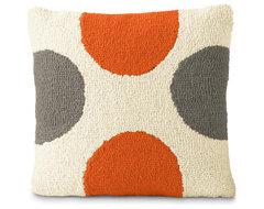 Orange & Gray Spots modern-pillows