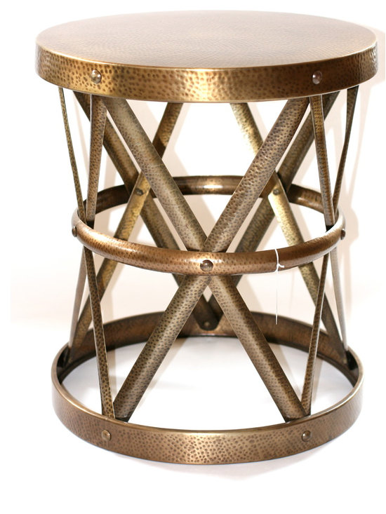 Filling Spaces - Metal Side Stool - Antique Brass X-side stool,very versatile can be used as end table,extra seating or group together to form coffee table.