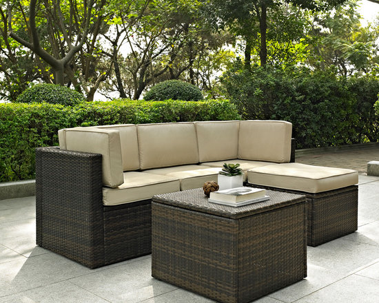 Crosley - Crosley Palm Harbor 5 Piece Outdoor Wicker Seating Set -